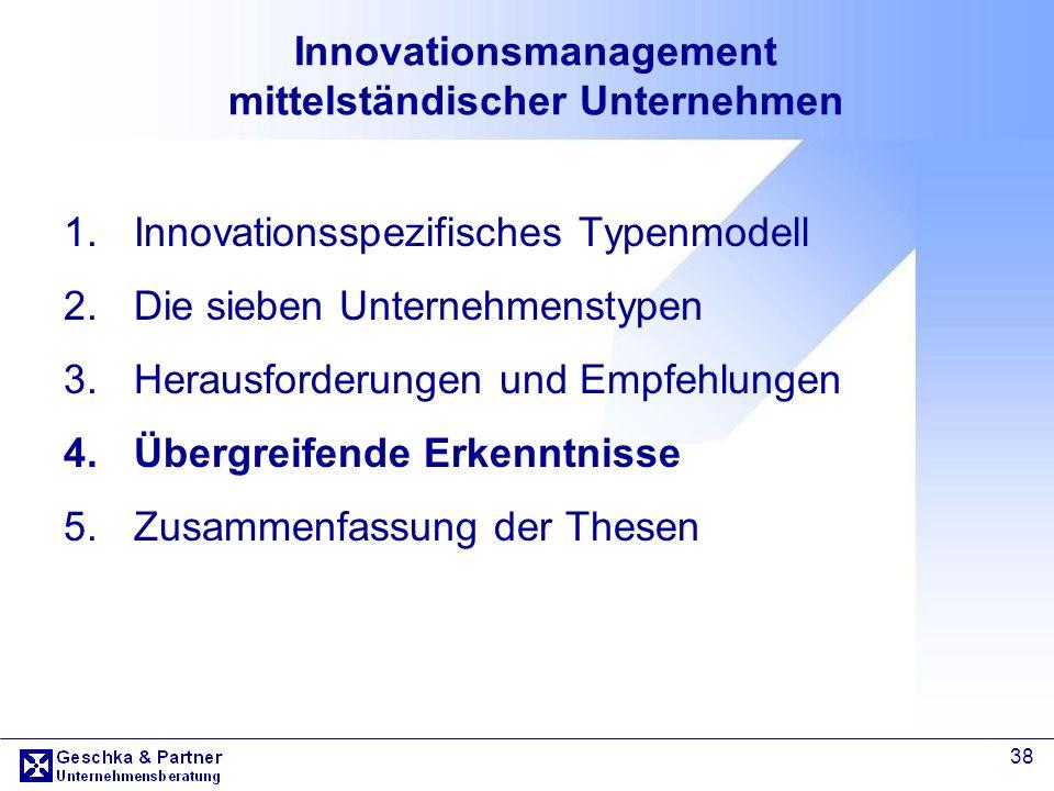 38 Innovationsmanagement mittelständischer Unternehmen 1.Innovationsspezifisches Typenmodell 2.Die sieben Unternehmenstypen 3.Herausforderungen und Em