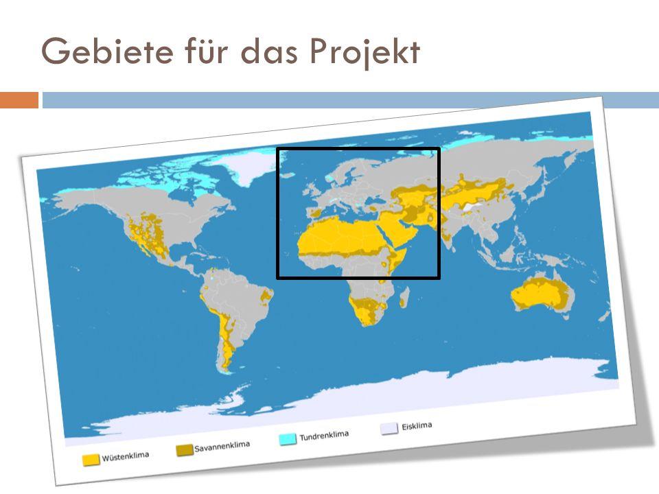 Gebiete für das Projekt