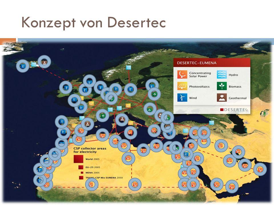 Konzept von Desertec Desertec Stromversorgun g Wachsender Energiebedarf wird gedeckt Afrika wird gefördert Klimaschutz Saubere Energie Co² neutral Ressourcenschu tz Nachhaltige Energiegewinnung