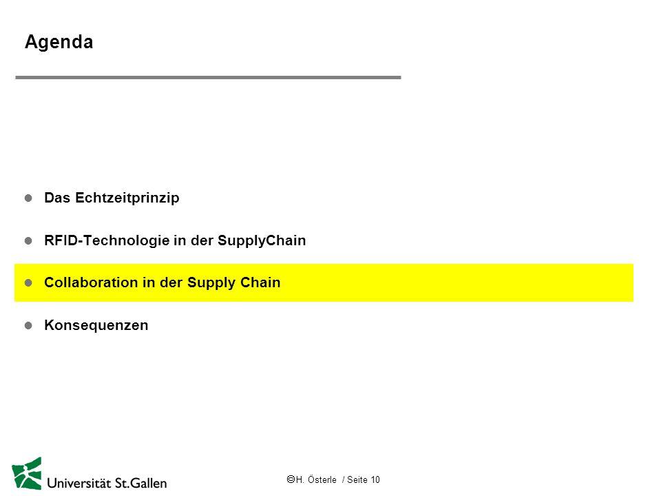 H. Österle / Seite 10 Agenda l Das Echtzeitprinzip l RFID-Technologie in der SupplyChain l Collaboration in der Supply Chain l Konsequenzen