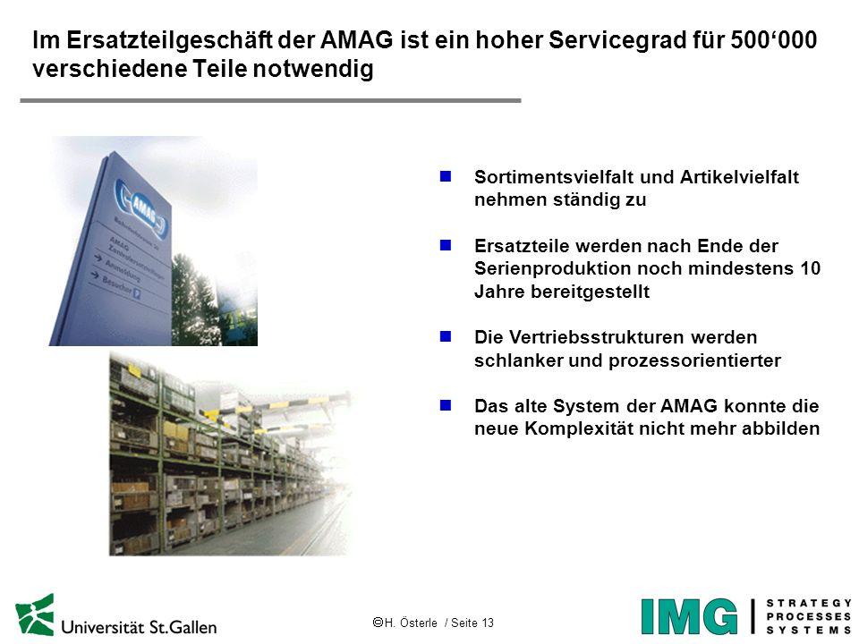 H. Österle / Seite 13 Im Ersatzteilgeschäft der AMAG ist ein hoher Servicegrad für 500000 verschiedene Teile notwendig Sortimentsvielfalt und Artikelv