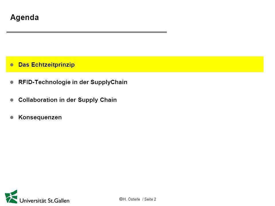 H. Österle / Seite 2 Agenda l Das Echtzeitprinzip l RFID-Technologie in der SupplyChain l Collaboration in der Supply Chain l Konsequenzen