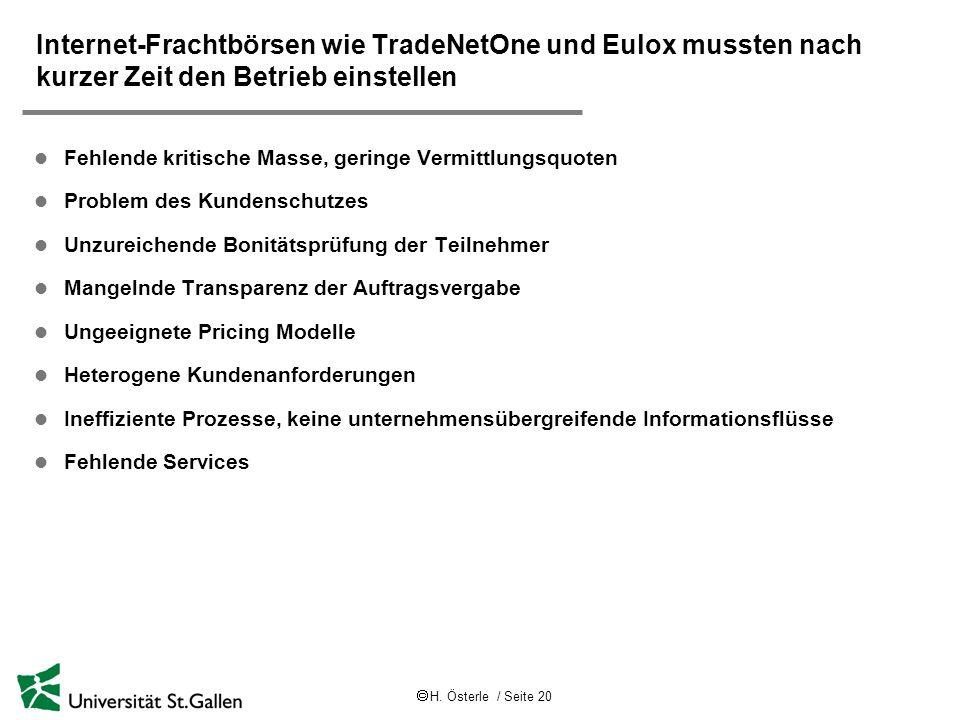 H. Österle / Seite 20 Internet-Frachtbörsen wie TradeNetOne und Eulox mussten nach kurzer Zeit den Betrieb einstellen l Fehlende kritische Masse, geri