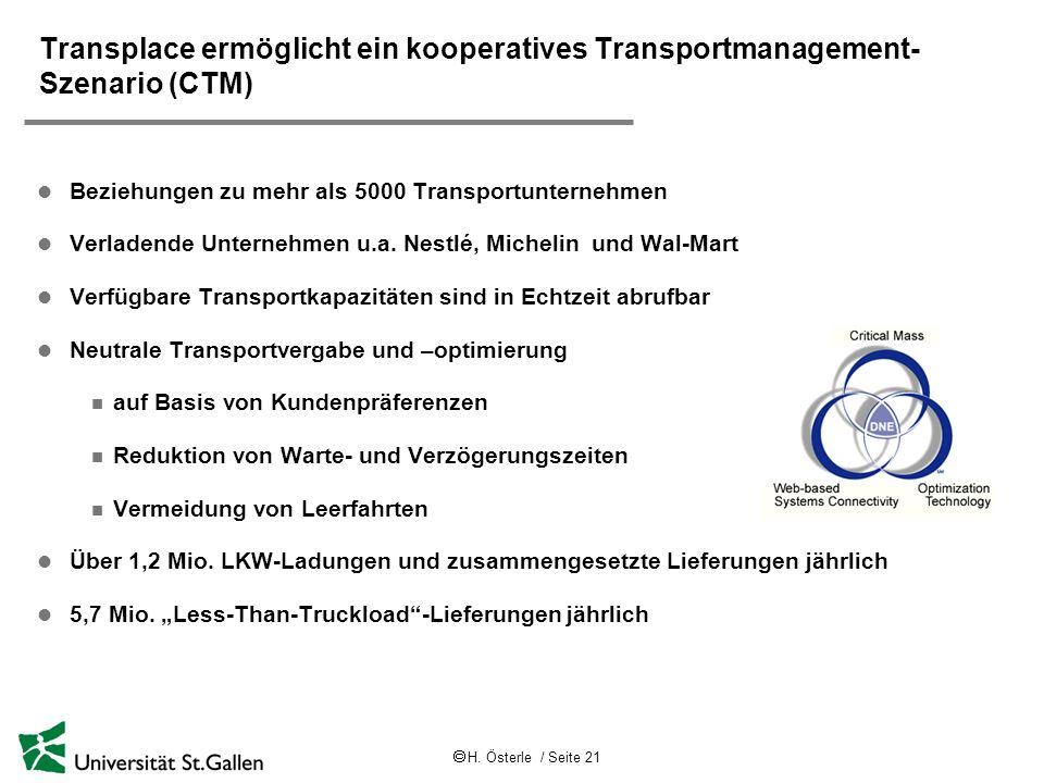 H. Österle / Seite 21 Transplace ermöglicht ein kooperatives Transportmanagement- Szenario (CTM) l Beziehungen zu mehr als 5000 Transportunternehmen l