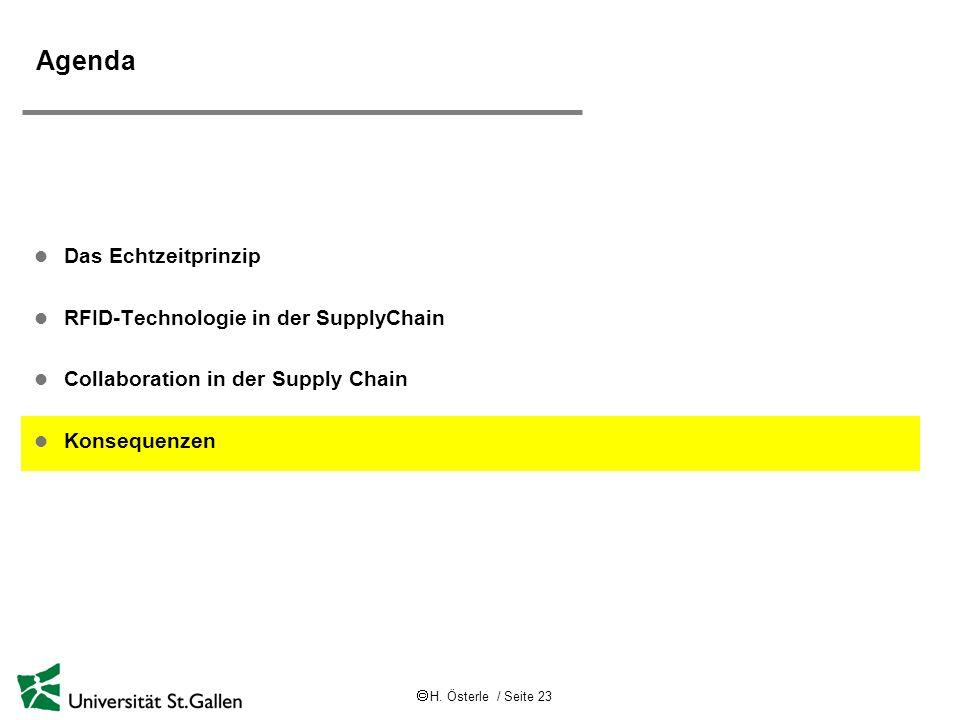 H. Österle / Seite 23 Agenda l Das Echtzeitprinzip l RFID-Technologie in der SupplyChain l Collaboration in der Supply Chain l Konsequenzen