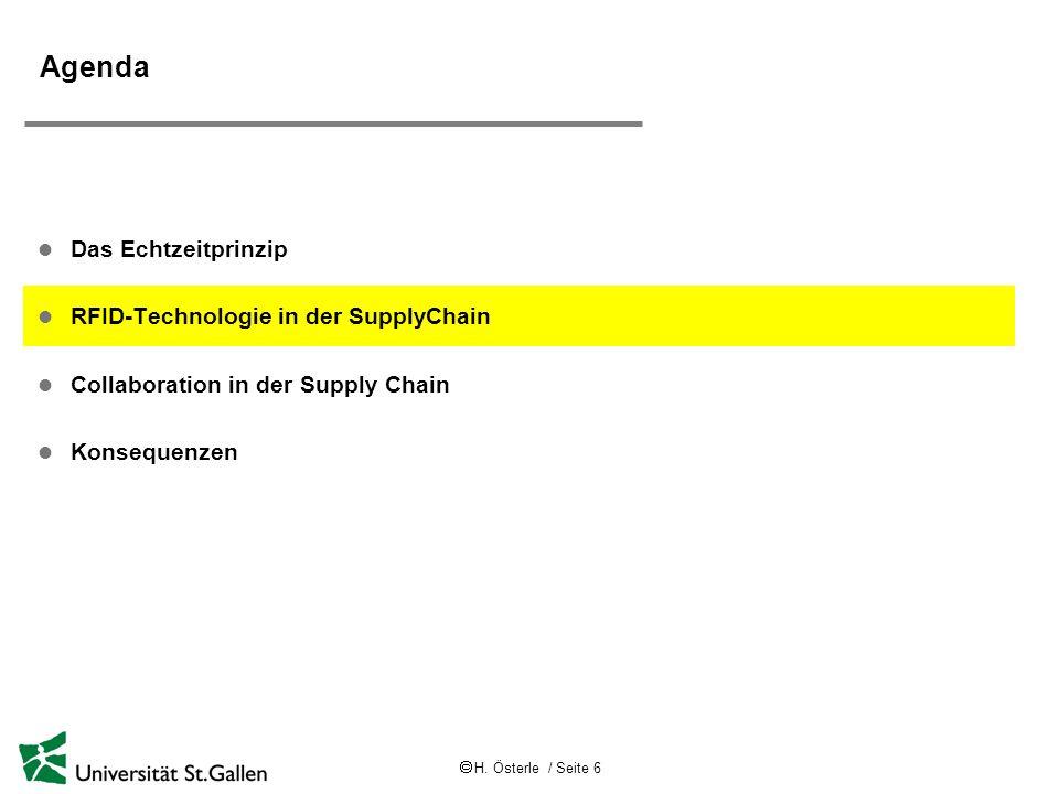 H. Österle / Seite 6 Agenda l Das Echtzeitprinzip l RFID-Technologie in der SupplyChain l Collaboration in der Supply Chain l Konsequenzen