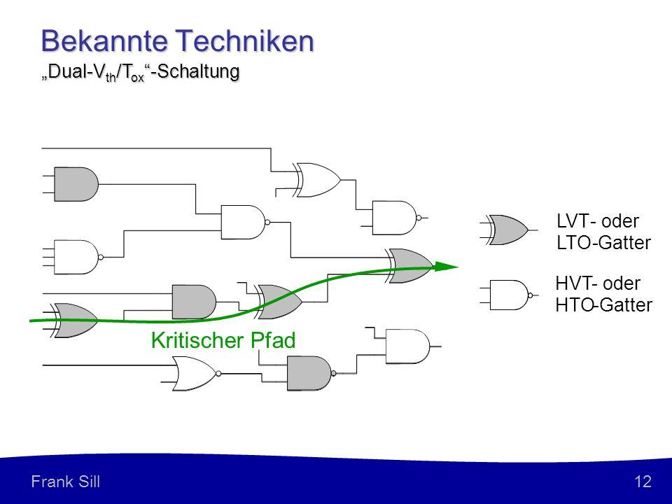 12 Frank Sill Bekannte Techniken Dual-V th /T ox -Schaltung Kritischer Pfad HVT-oder HTO-Gatter LVT-oder LTO-Gatter