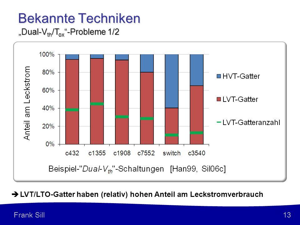 13 Frank Sill Bekannte Techniken Dual-V th /T ox -Probleme 1/2 LVT/LTO-Gatter haben (relativ) hohen Anteil am Leckstromverbrauch