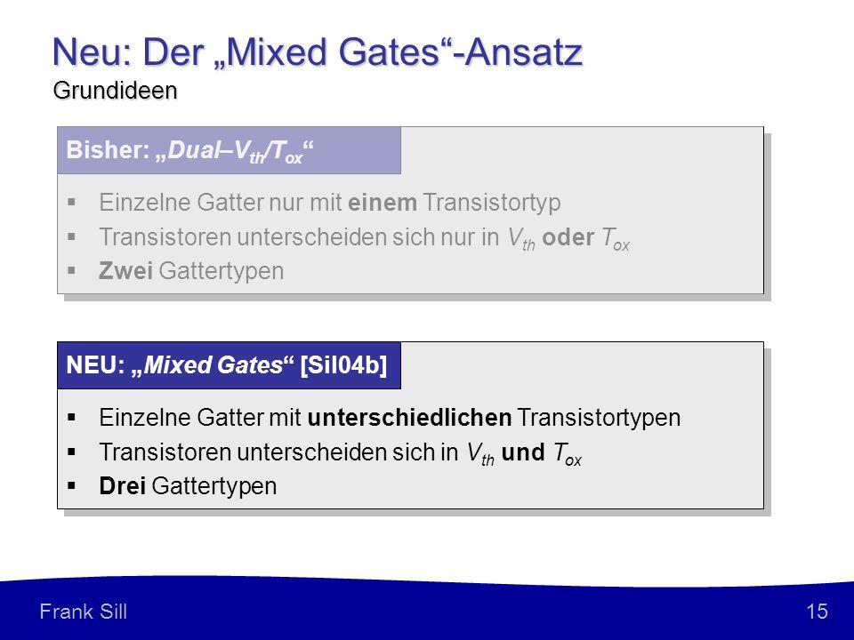 15 Frank Sill Neu: Der Mixed Gates-Ansatz Grundideen Einzelne Gatter nur mit einem Transistortyp Transistoren unterscheiden sich nur in V th oder T ox