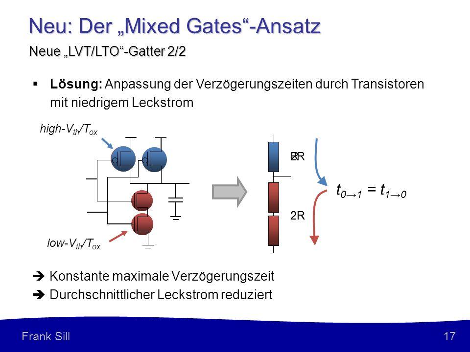 17 Frank Sill R 2R Neu: Der Mixed Gates-Ansatz Neue LVT/LTO-Gatter 2/2 Konstante maximale Verzögerungszeit Durchschnittlicher Leckstrom reduziert t 01