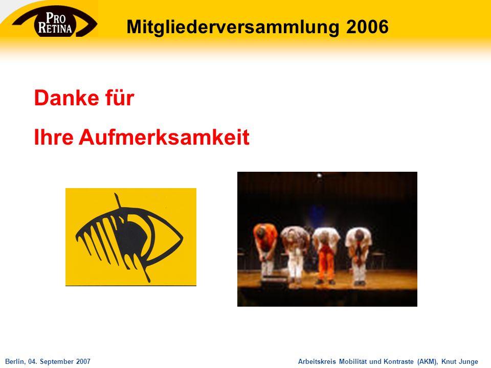 Arbeitskreis Mobilität und Kontraste (AKM), Knut JungeBerlin, 04. September 2007 Danke für Ihre Aufmerksamkeit Mitgliederversammlung 2006