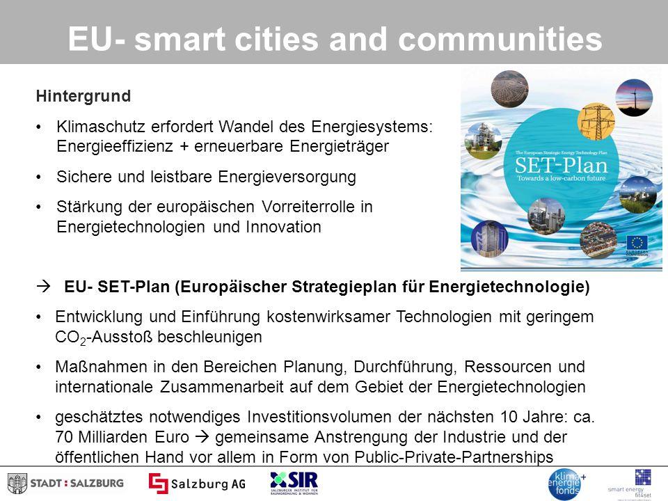 Projektbeispiele Erste Smart grid- Modellregion Österreichs Vernetzung unterschiedlichster Forschungsbereiche mit dem Ziel, Energiesysteme zukunftstauglich zu machen Forschungsfelder Stromnetze Wärmenetze IKT Virtuelles Kraftwerk Kunden und Gebäude