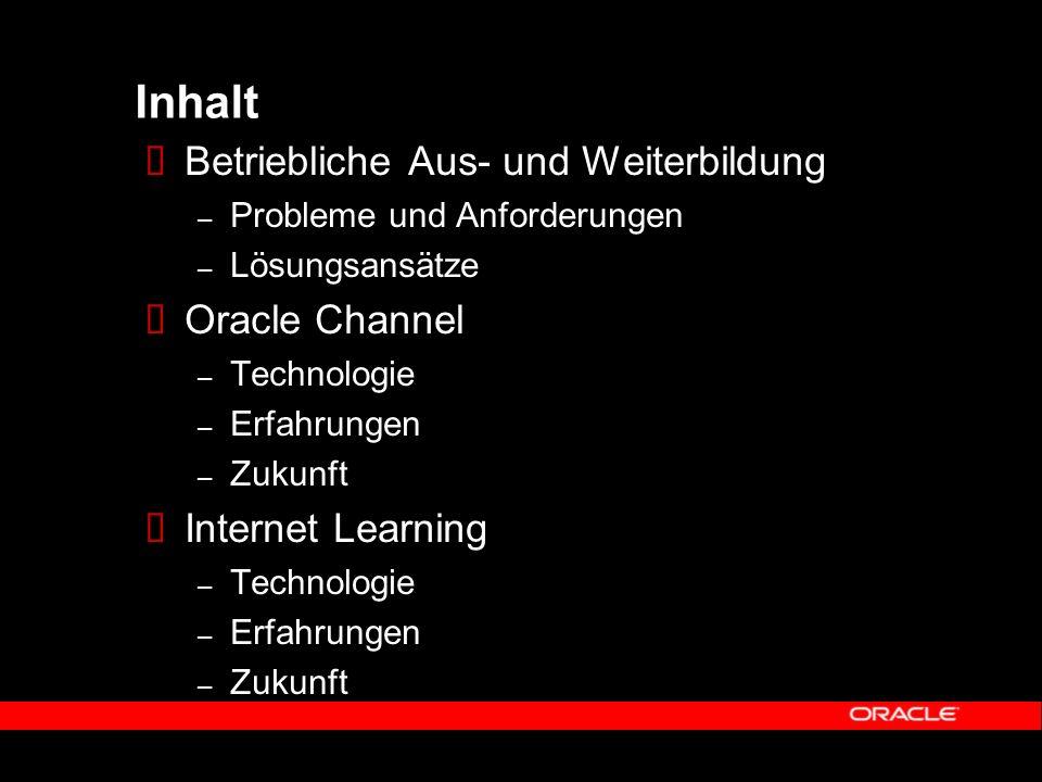 Inhalt Betriebliche Aus- und Weiterbildung – Probleme und Anforderungen – Lösungsansätze Oracle Channel – Technologie – Erfahrungen – Zukunft Internet Learning – Technologie – Erfahrungen – Zukunft