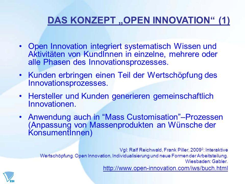 Open Innovation integriert systematisch Wissen und Aktivitäten von KundInnen in einzelne, mehrere oder alle Phasen des Innovationsprozesses. Kunden er