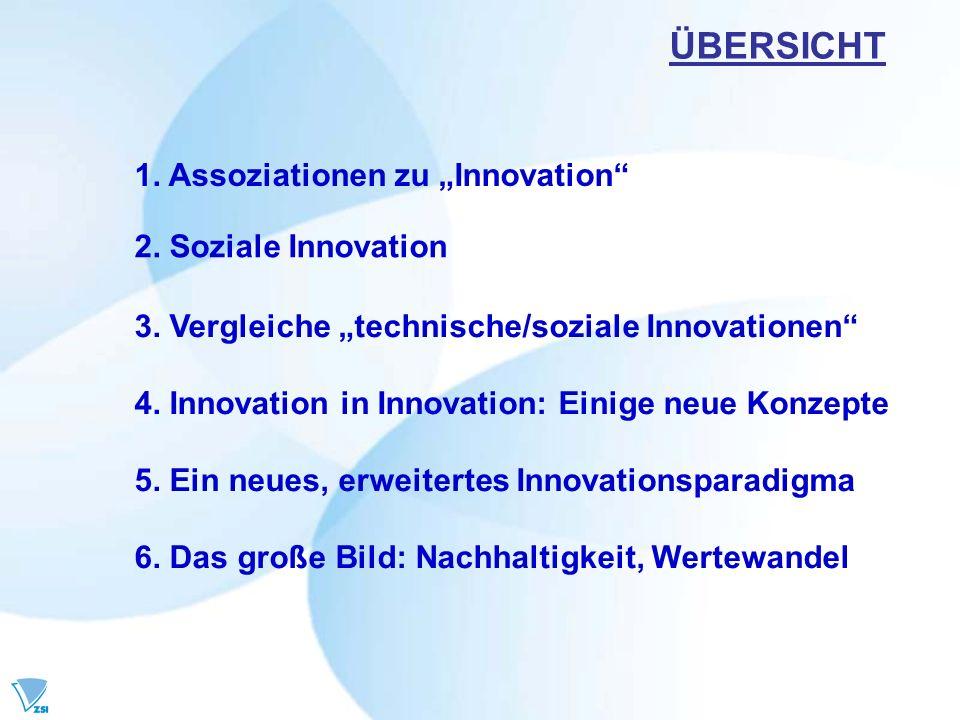 1. Assoziationen zu Innovation ÜBERSICHT 2. Soziale Innovation 3. Vergleiche technische/soziale Innovationen 4. Innovation in Innovation: Einige neue
