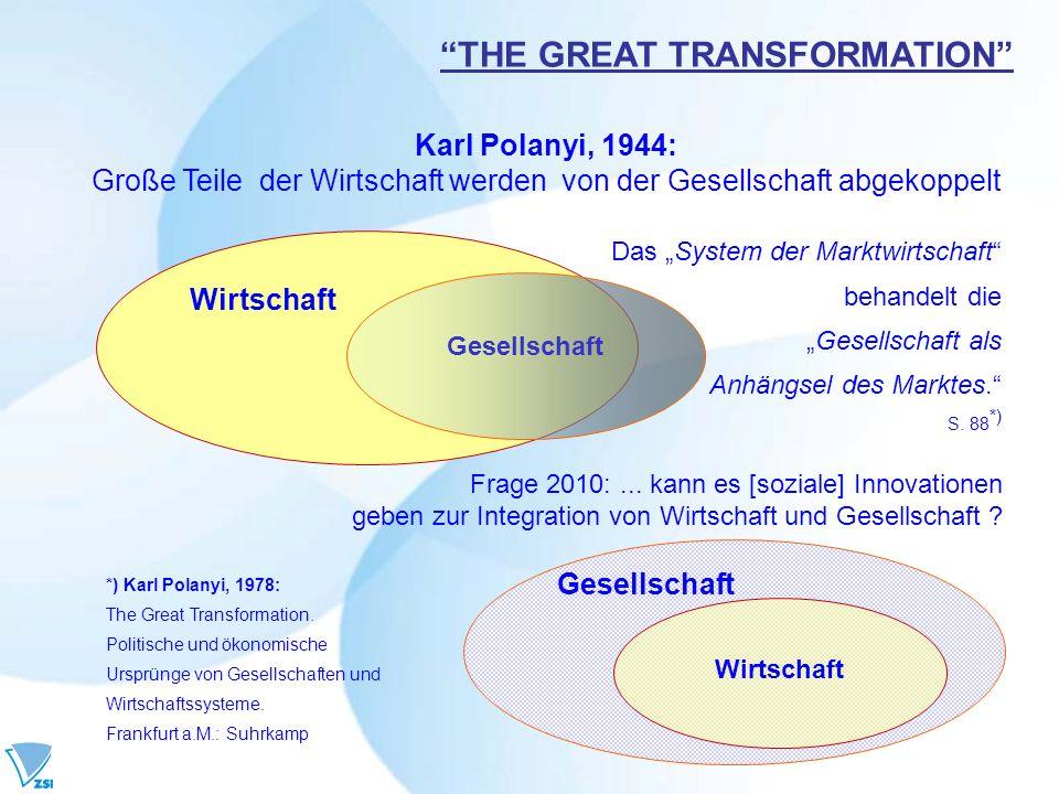 THE GREAT TRANSFORMATION Karl Polanyi, 1944: Große Teile der Wirtschaft werden von der Gesellschaft abgekoppelt Wirtschaft Frage 2010:... kann es [soz