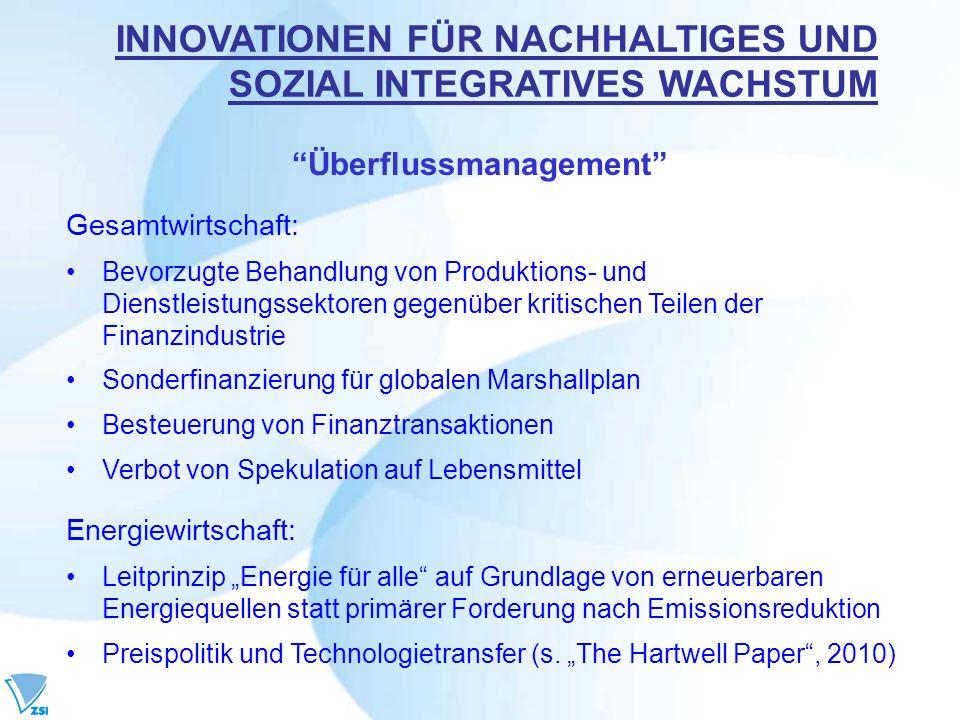 Überflussmanagement Gesamtwirtschaft: Bevorzugte Behandlung von Produktions- und Dienstleistungssektoren gegenüber kritischen Teilen der Finanzindustr