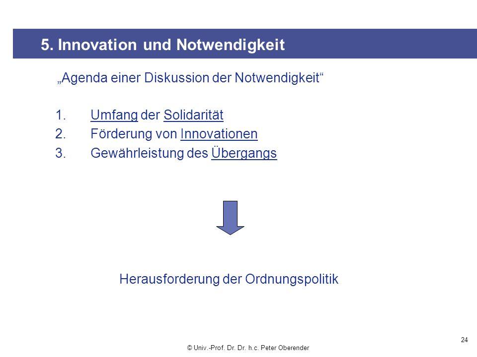24 5.Innovation und Notwendigkeit © Univ.-Prof. Dr.