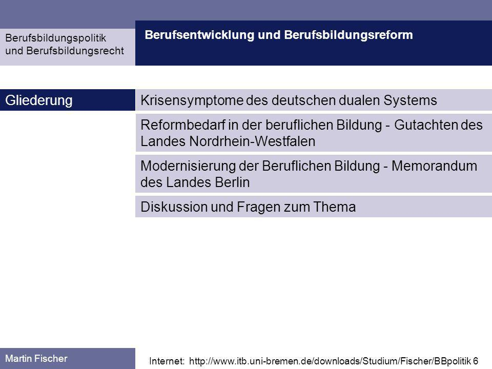 Berufsentwicklung und Berufsbildungsreform Krisensymptome Berufsbildungspolitik und Berufsbildungsrecht Martin Fischer Quelle: Greinert, Wolf-Dietrich: Das duale System der Berufsausbildung in der Bundesrepublik Deutschland.
