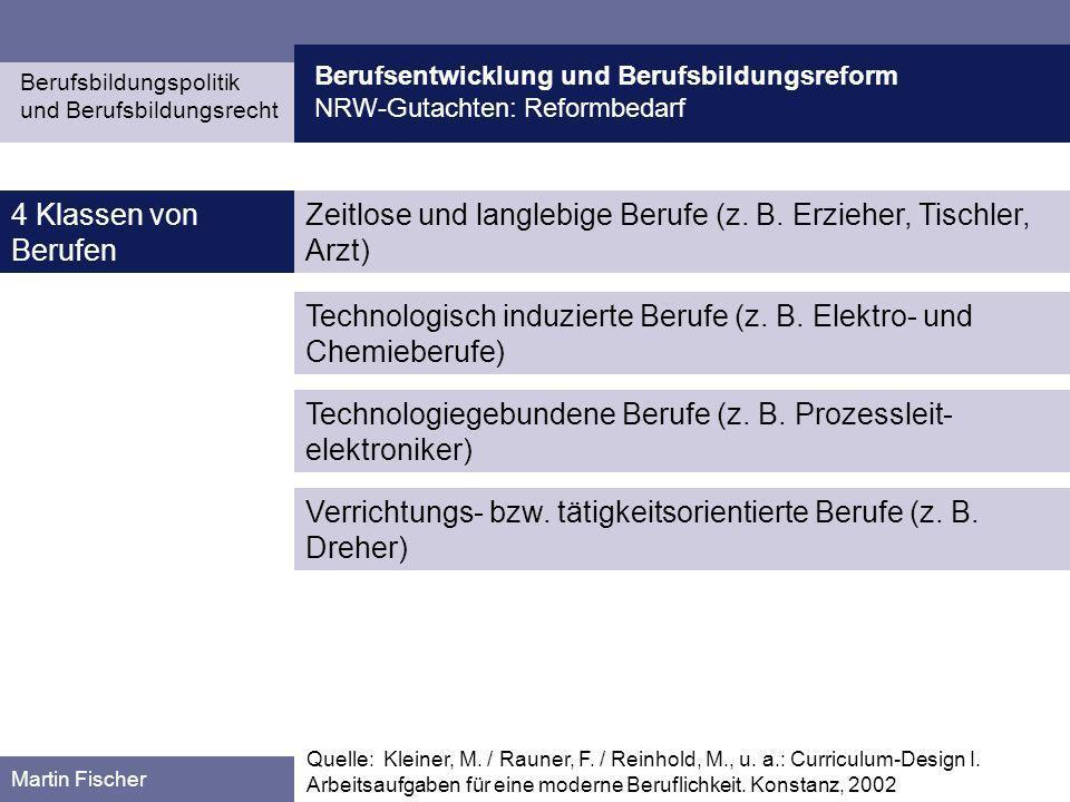 Berufsentwicklung und Berufsbildungsreform NRW-Gutachten: Reformbedarf Berufsbildungspolitik und Berufsbildungsrecht Martin Fischer Zeitlose und langl