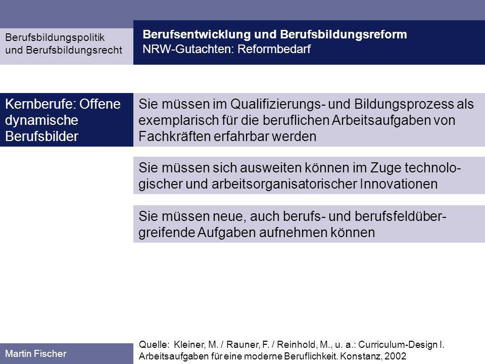 Berufsentwicklung und Berufsbildungsreform NRW-Gutachten: Reformbedarf Berufsbildungspolitik und Berufsbildungsrecht Martin Fischer Sie müssen im Qual