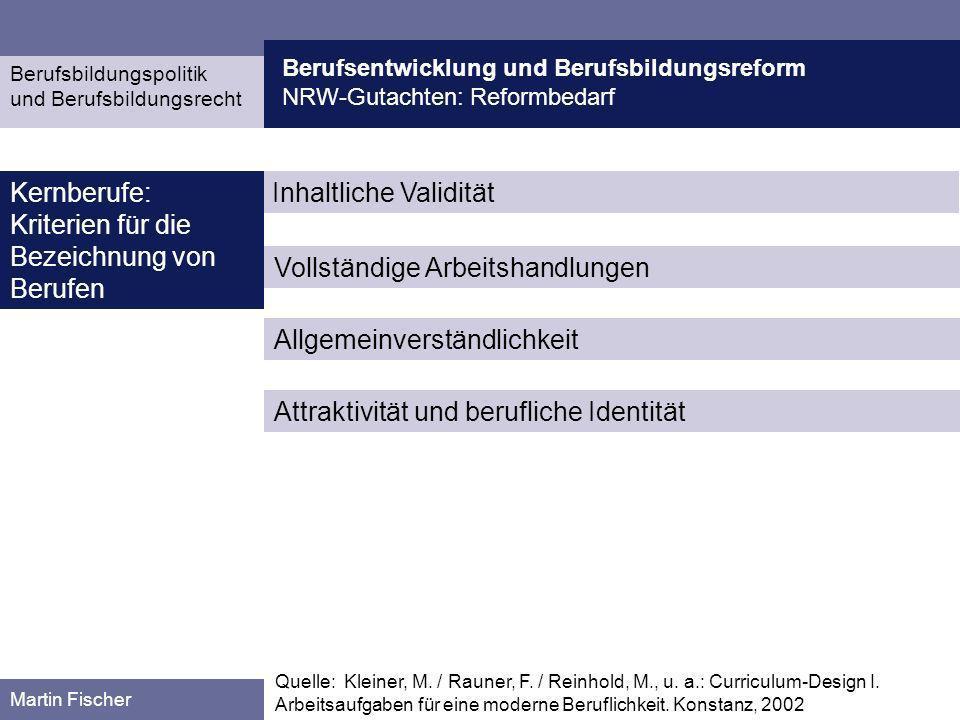 Berufsentwicklung und Berufsbildungsreform NRW-Gutachten: Reformbedarf Berufsbildungspolitik und Berufsbildungsrecht Martin Fischer Inhaltliche Validi