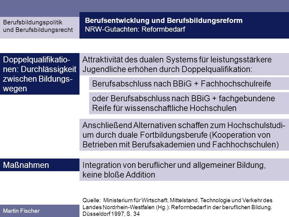 Berufsentwicklung und Berufsbildungsreform NRW-Gutachten: Reformbedarf Berufsbildungspolitik und Berufsbildungsrecht Martin Fischer Attraktivität des