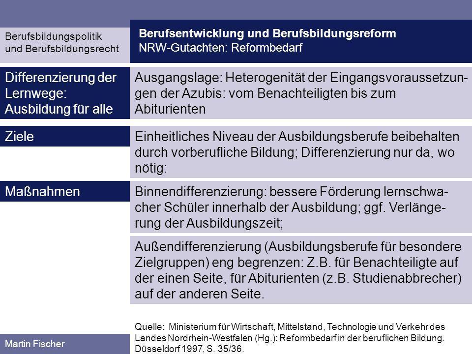 Berufsentwicklung und Berufsbildungsreform NRW-Gutachten: Reformbedarf Berufsbildungspolitik und Berufsbildungsrecht Martin Fischer Ausgangslage: Hete