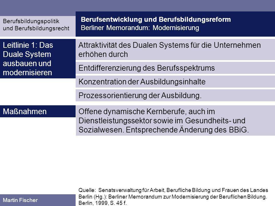 Berufsentwicklung und Berufsbildungsreform Berliner Memorandum: Modernisierung Berufsbildungspolitik und Berufsbildungsrecht Martin Fischer Attraktivi