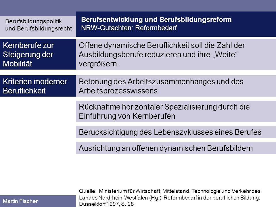 Berufsentwicklung und Berufsbildungsreform NRW-Gutachten: Reformbedarf Berufsbildungspolitik und Berufsbildungsrecht Martin Fischer Kernberufe zur Ste