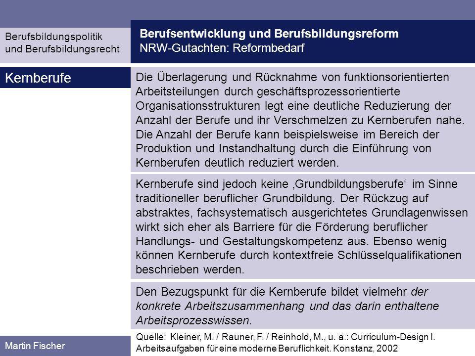 Berufsentwicklung und Berufsbildungsreform NRW-Gutachten: Reformbedarf Berufsbildungspolitik und Berufsbildungsrecht Martin Fischer Beispiele für die Entwicklung von Kernberufen Quelle: Kleiner, M.