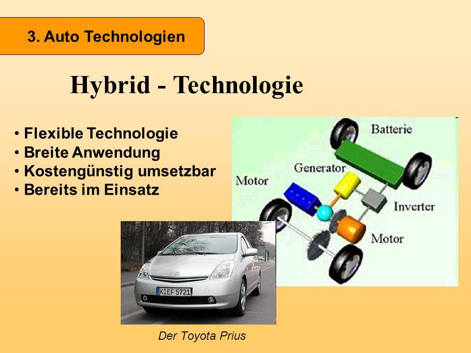 3. Auto Technologien Hybrid - Technologie Flexible Technologie Breite Anwendung Kostengünstig umsetzbar Bereits im Einsatz Der Toyota Prius
