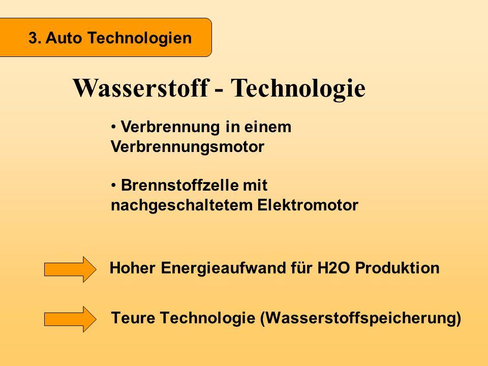 3. Auto Technologien Wasserstoff - Technologie Verbrennung in einem Verbrennungsmotor Brennstoffzelle mit nachgeschaltetem Elektromotor Teure Technolo