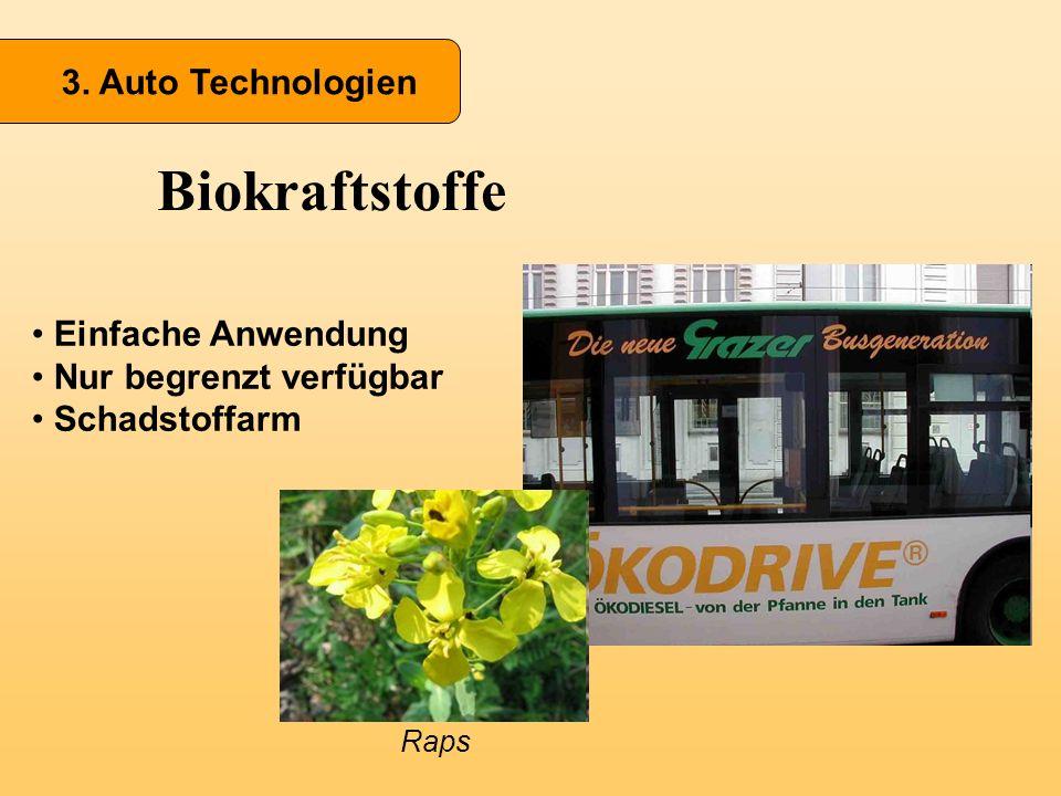 3. Auto Technologien Biokraftstoffe Einfache Anwendung Nur begrenzt verfügbar Schadstoffarm Raps