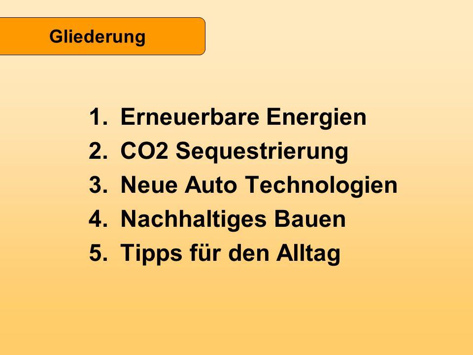 1.Erneuerbare Energien 2.CO2 Sequestrierung 3.Neue Auto Technologien 4.Nachhaltiges Bauen 5.Tipps für den Alltag Gliederung