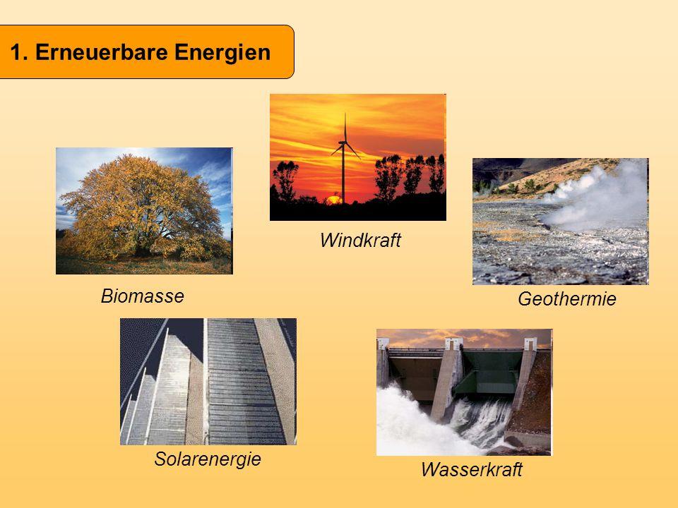Biomasse Windkraft Wasserkraft Geothermie Solarenergie
