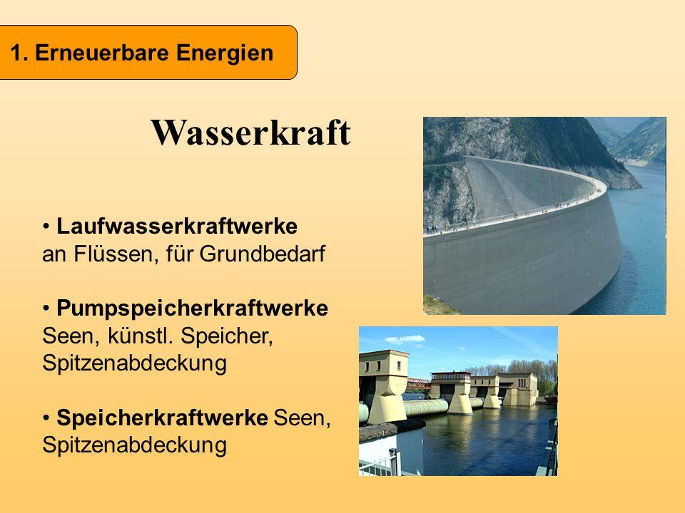 1. Erneuerbare Energien Wasserkraft Laufwasserkraftwerke an Flüssen, für Grundbedarf Pumpspeicherkraftwerke Seen, künstl. Speicher, Spitzenabdeckung S