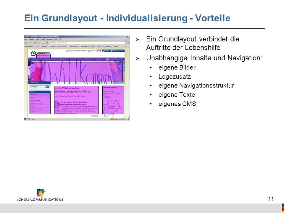 11 Ein Grundlayout - Individualisierung - Vorteile »Ein Grundlayout verbindet die Auftritte der Lebenshilfe »Unabhängige Inhalte und Navigation: eigen