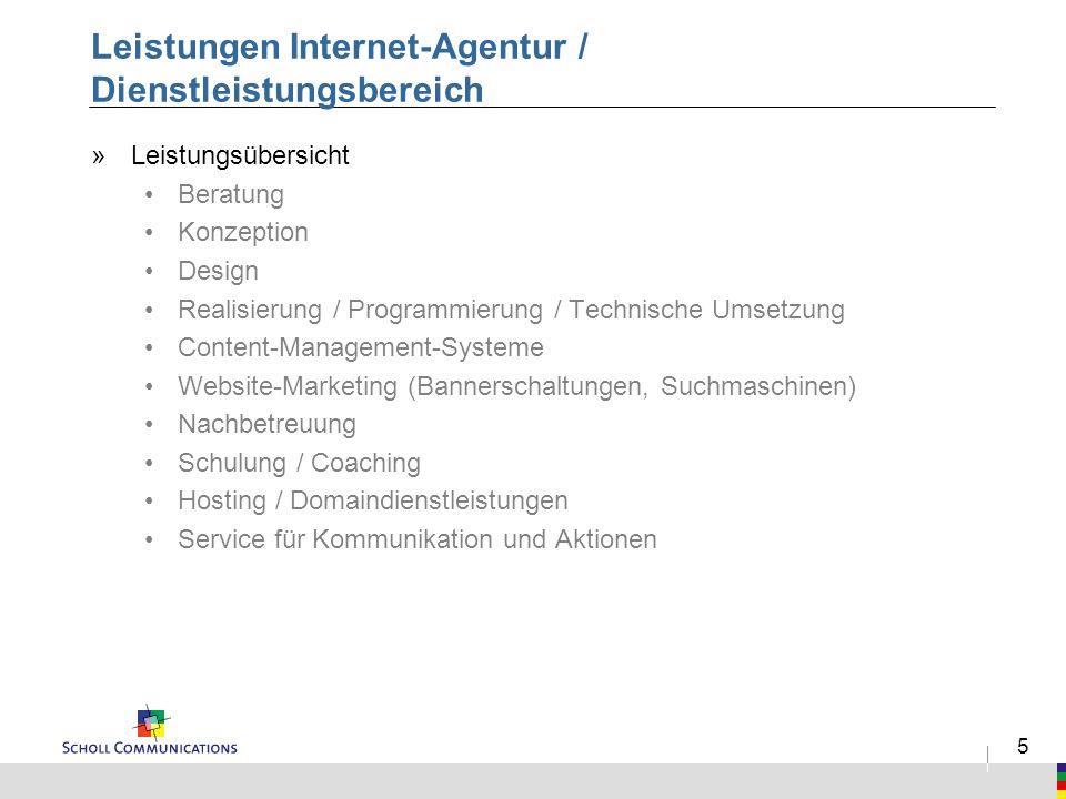 5 Leistungen Internet-Agentur / Dienstleistungsbereich »Leistungsübersicht Beratung Konzeption Design Realisierung / Programmierung / Technische Umset
