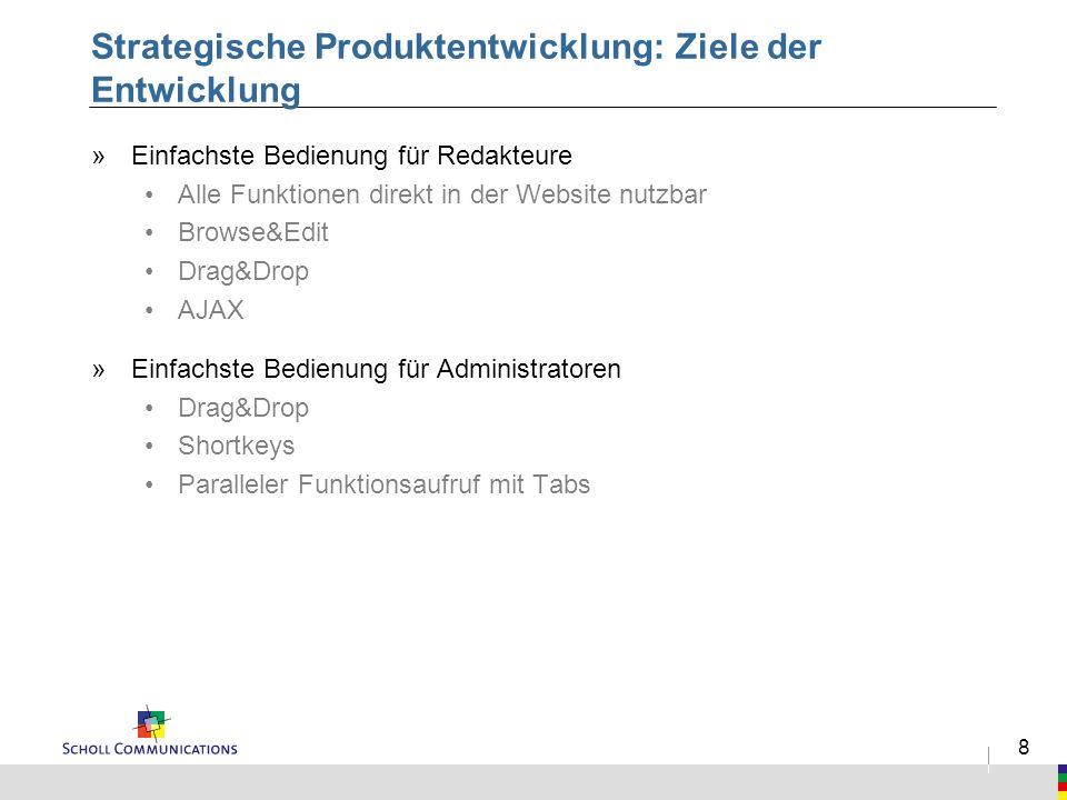 8 Strategische Produktentwicklung: Ziele der Entwicklung »Einfachste Bedienung für Redakteure Alle Funktionen direkt in der Website nutzbar Browse&Edi