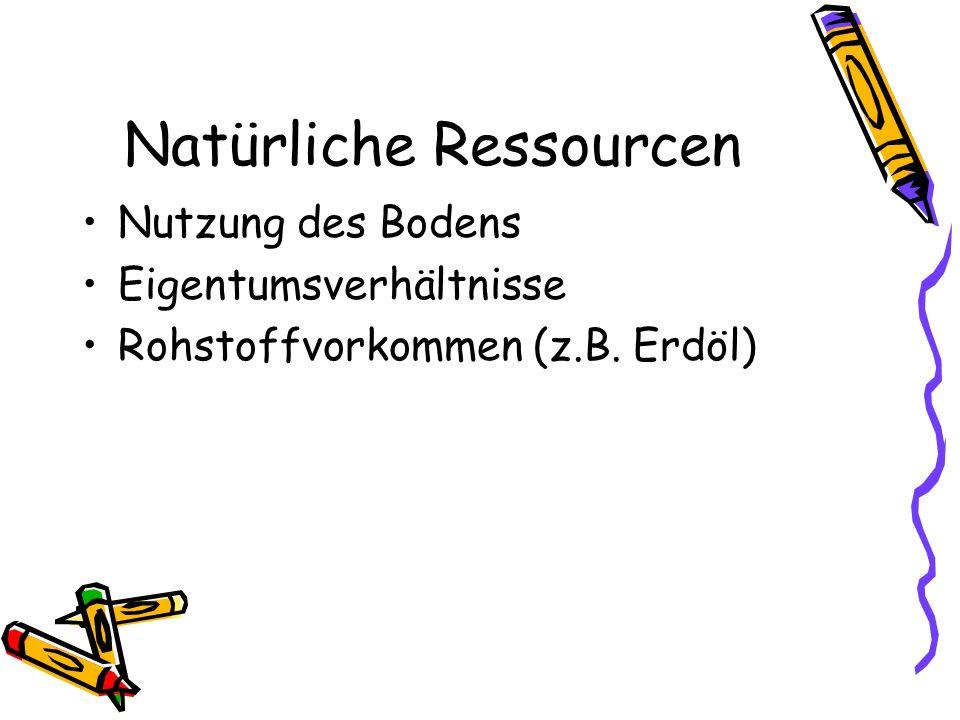 Natürliche Ressourcen Nutzung des Bodens Eigentumsverhältnisse Rohstoffvorkommen (z.B. Erdöl)