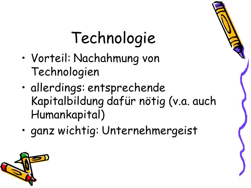 Technologie Vorteil: Nachahmung von Technologien allerdings: entsprechende Kapitalbildung dafür nötig (v.a. auch Humankapital) ganz wichtig: Unternehm