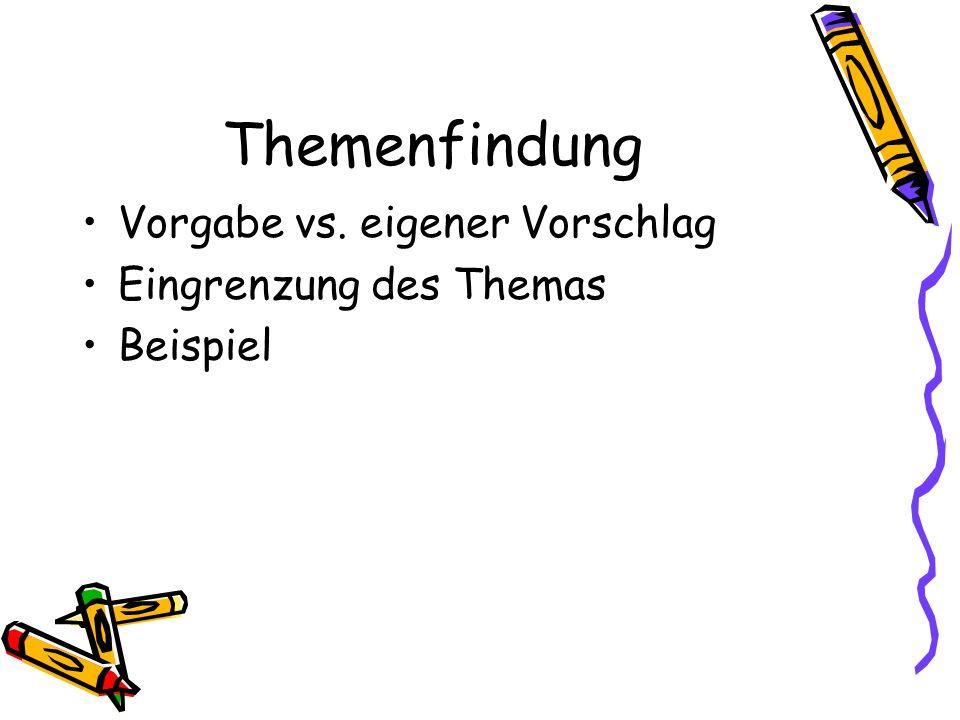 Gliederung Grobgliederung Feingliederung topic-based point-based