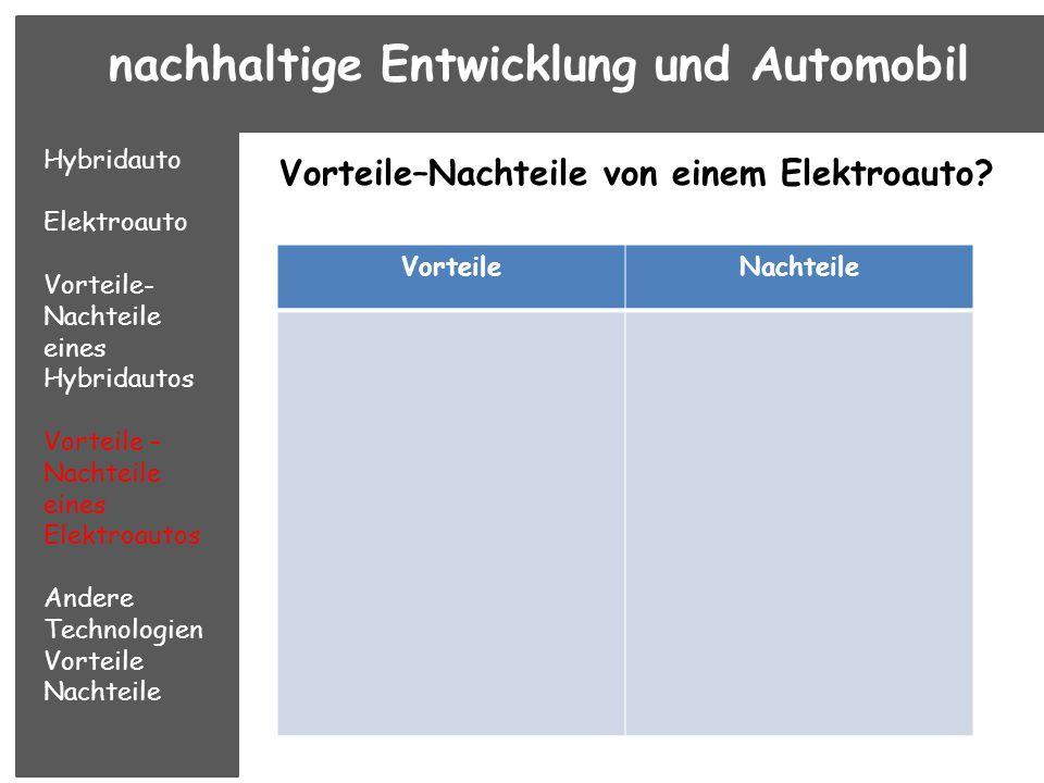 nachhaltige Entwicklung und Automobil Hybridauto Elektroauto Vorteile- Nachteile eines Hybridautos Vorteile – Nachteile eines Elektroautos Andere Technologie n Vorteile Nachteile Gibt es andere Technologien, damit das Auto sauber oder ökonomisch ist?