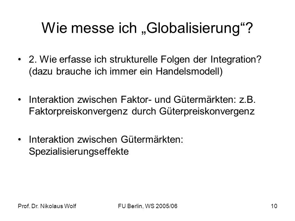Prof. Dr. Nikolaus WolfFU Berlin, WS 2005/0610 Wie messe ich Globalisierung? 2. Wie erfasse ich strukturelle Folgen der Integration? (dazu brauche ich