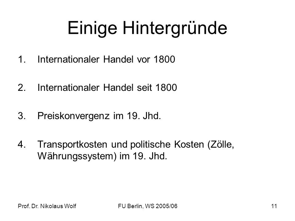 Prof. Dr. Nikolaus WolfFU Berlin, WS 2005/0611 Einige Hintergründe 1.Internationaler Handel vor 1800 2.Internationaler Handel seit 1800 3.Preiskonverg