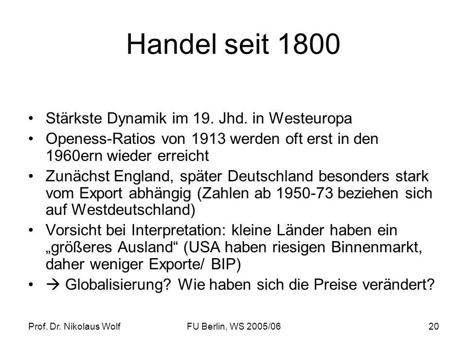 Prof. Dr. Nikolaus WolfFU Berlin, WS 2005/0620 Handel seit 1800 Stärkste Dynamik im 19. Jhd. in Westeuropa Openess-Ratios von 1913 werden oft erst in