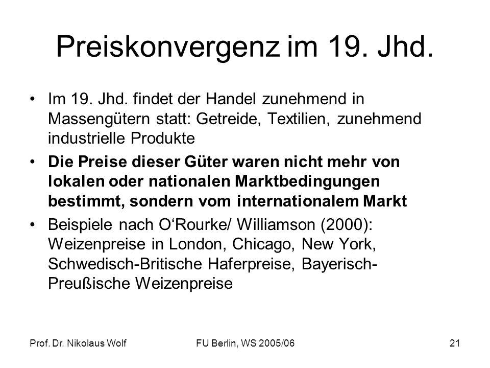 Prof. Dr. Nikolaus WolfFU Berlin, WS 2005/0621 Preiskonvergenz im 19. Jhd. Im 19. Jhd. findet der Handel zunehmend in Massengütern statt: Getreide, Te