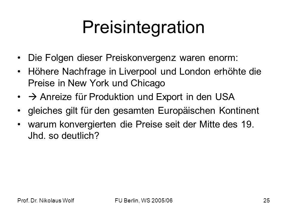 Prof. Dr. Nikolaus WolfFU Berlin, WS 2005/0625 Preisintegration Die Folgen dieser Preiskonvergenz waren enorm: Höhere Nachfrage in Liverpool und Londo