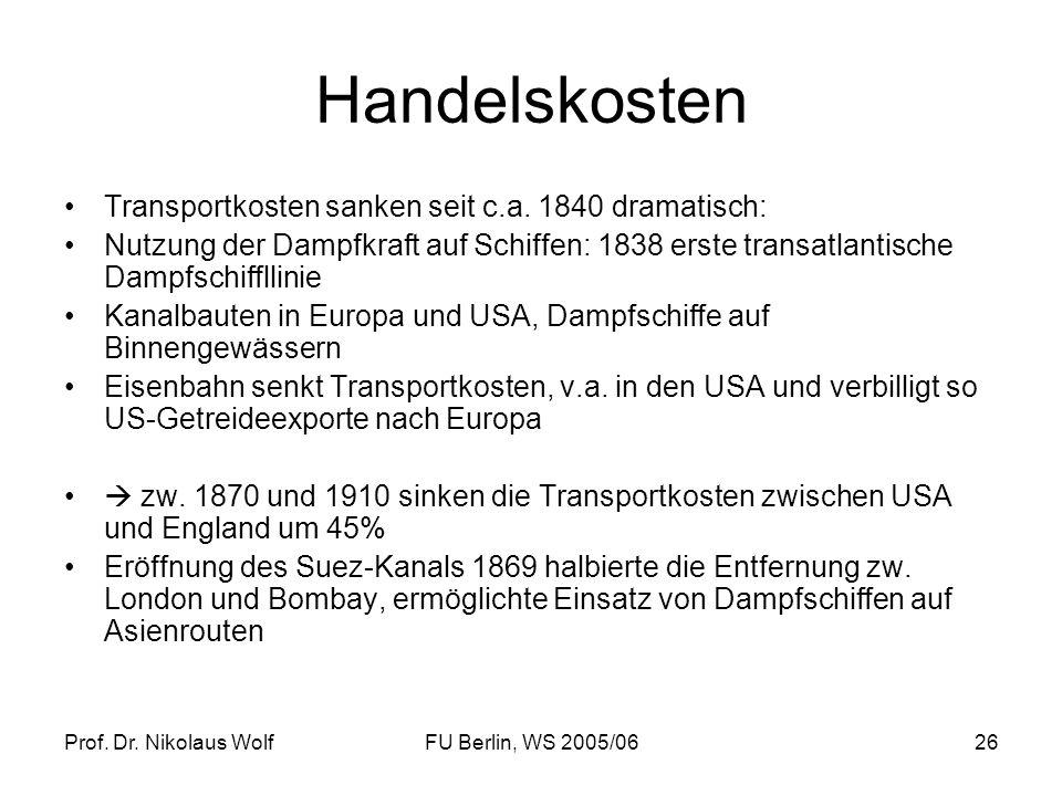 Prof. Dr. Nikolaus WolfFU Berlin, WS 2005/0626 Handelskosten Transportkosten sanken seit c.a. 1840 dramatisch: Nutzung der Dampfkraft auf Schiffen: 18
